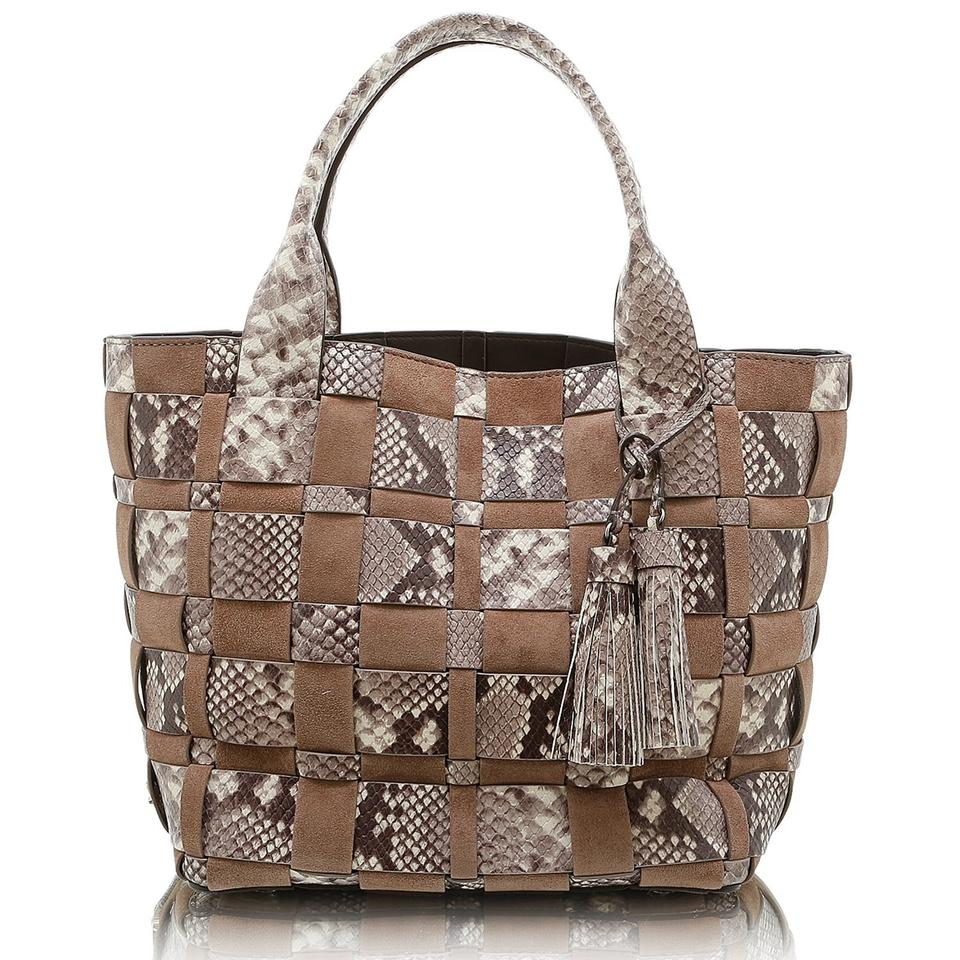 92a3ed13c167 Michael Kors Natural Dark Dune New with Tags Vivian Medium Embossed Leather/ Suede Tote