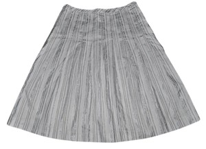 Ann Taylor LOFT A-line Watercolor Striped Metallic Resort Skirt White & Gray