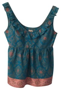 Edme & Esyllte Ruffle Neck-line V-neck Sleevless Top turquise and pink