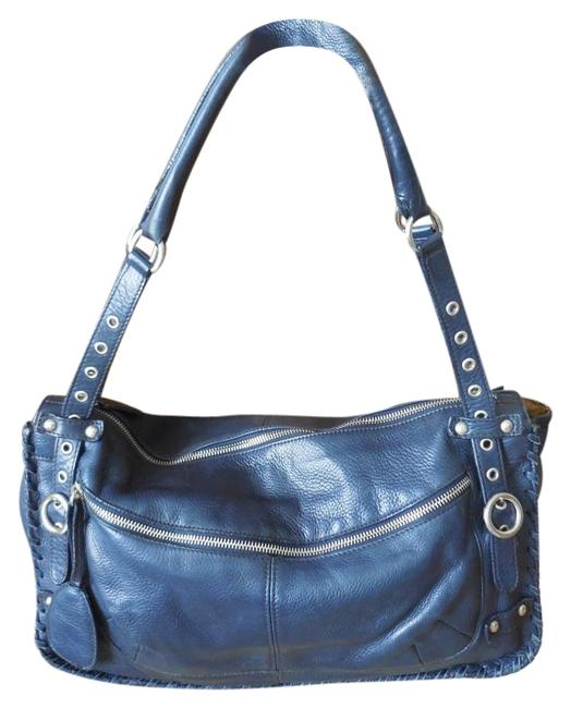 Furla Silver Zippers and Buckles Navy Leather Shoulder Bag Image 1