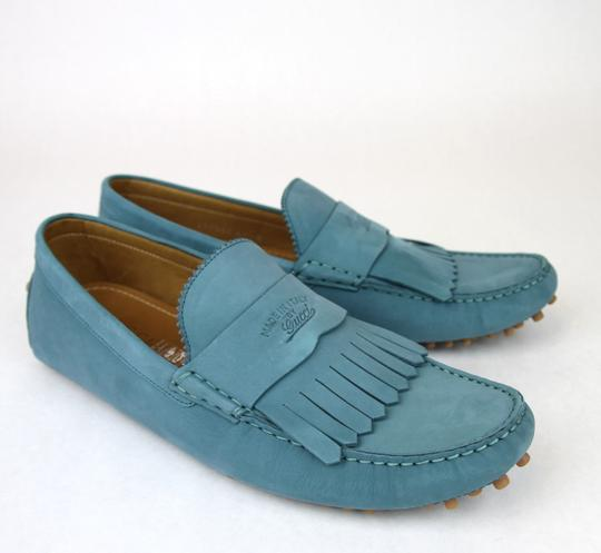 Gucci Teal Men's Suede Fringe Moccasin Loafer 337066 Size 8 G/Us 8.5 Shoes