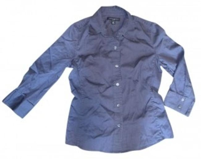 Banana Republic Shirt Blouse Professional Button Up Long Sleeve Fitted Tailored Navy Button Down Shirt blue