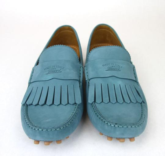 Gucci Teal Men's Suede Fringe Moccasin Loafer 337066 Size 10 G/Us 10.5 Shoes