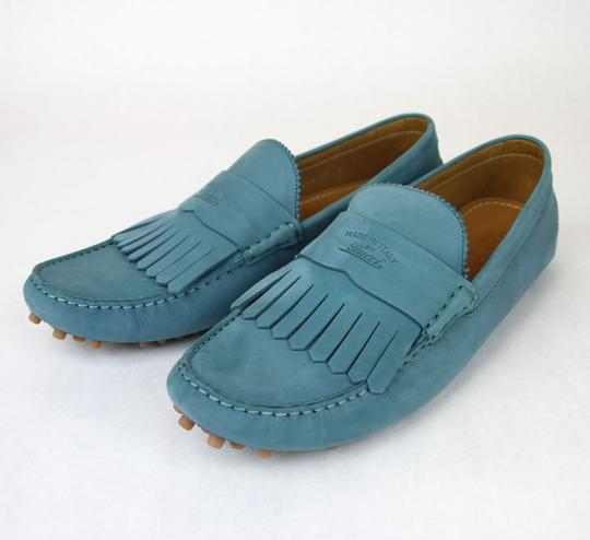 Gucci Teal Men's Suede Fringe Moccasin Loafer 337066 Size 12.5 G/Us 13 Shoes