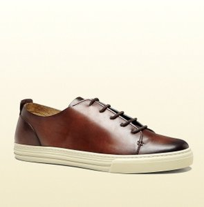 Gucci Men's Leather Lace-up W/hysteria Crest 342037 Brown Size 10.5 G/us 11