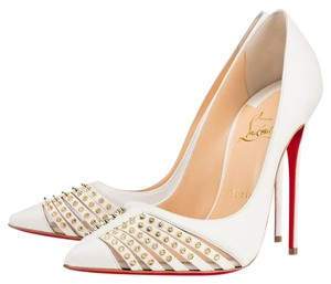 Christian Louboutin Bareta 100 White Pumps