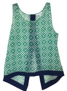 Charming Charlie Top Green, white, and navy