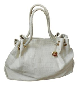 Furla Logo Hangtag Croc Embossed Leather Tote in Ivory