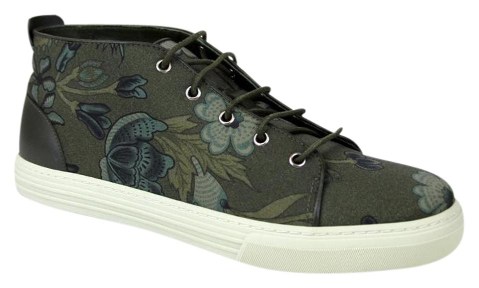 Gucci Green 3364 Mens Floral Fabric Lace-up Sneaker 342048 Size 8.5 G Us ... b795c6fe47b8c
