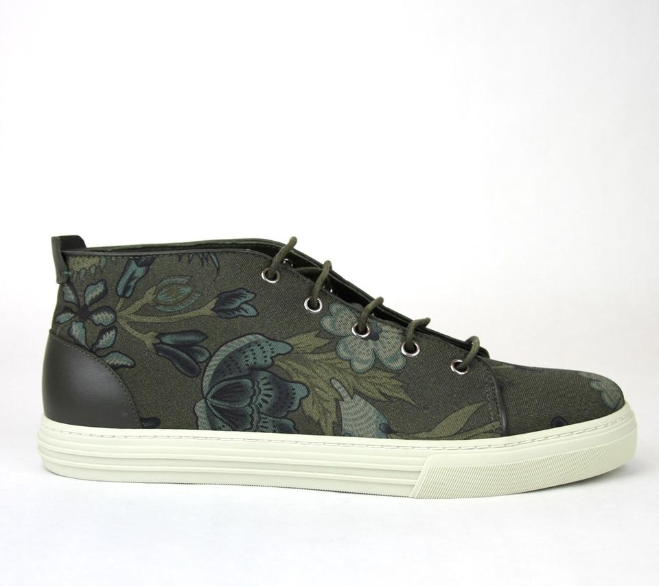 05bd87b01 Gucci Green 3364 Mens Floral Fabric Lace-up Sneaker 342048 Size 8.5 G/Us.  12345678910