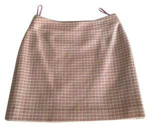Banana Republic Mini Checkerboard Wool Cotton Mini Skirt Pink and White