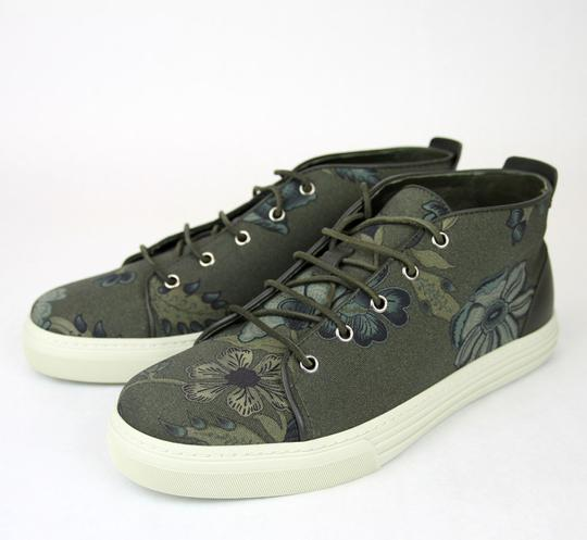 Gucci Green 3364 Mens Floral Fabric Lace-up Sneaker 342048 Size 9.5 G/Us 10 Shoes