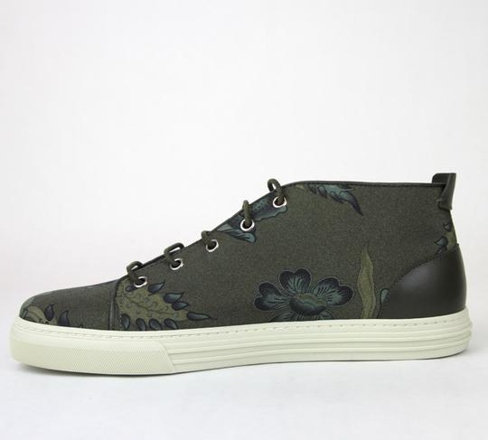 Gucci Green 3364 Mens Floral Fabric Lace-up Sneaker 342048 Size 10 G/Us 10.5 Shoes