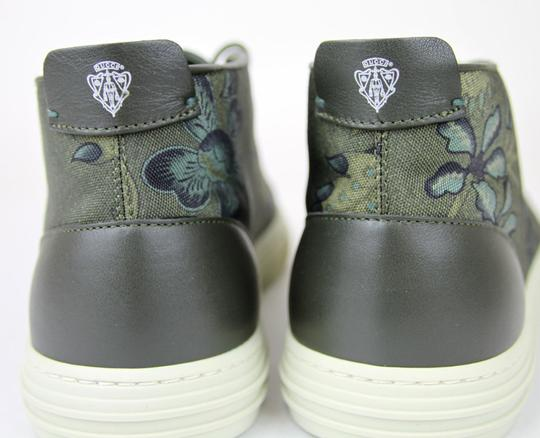 Gucci Green 3364 Mens Floral Fabric Lace-up Sneaker 342048 Size 12 G/Us 12.5 Shoes