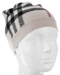 Burberry Beige, brown Burberry House Check wool beanie hat