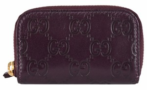 Gucci Gucci 324801 Purple Leather GG Guccissima Mini Zip Around Coin Purse