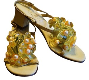 Rangoni Made In Italy Leather Beaded Yellow, green, white Sandals