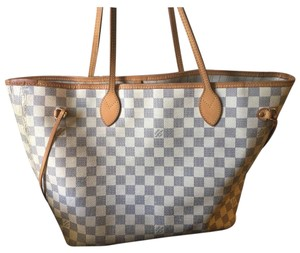 Louis Vuitton Neverfull Azure Mm Damier Medium Tote in White