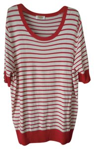 Talbots Plus-size Striped Short Sleeves Rounded Neckline Button Accents Sweater