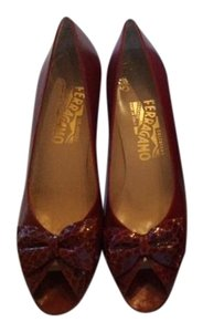 Salvatore Ferragamo Red Leather with red snake trim Pumps