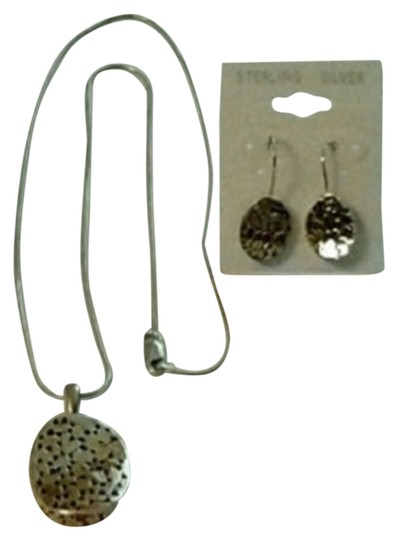 unknown OVAL COBBLESTONE DESIGN PENDANT AND EARRINGS