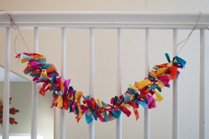 2.5' Handmade Multi Color Fabric Tied Garlands