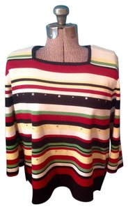 Alfred Dunner Stripes Star Petite Xl 3/4 Length Sleeves Top