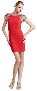 Erin Fetherston Sequin Cap Sleeve Sheath Pencil Dress