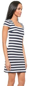 Diane von Furstenberg short dress Navy/White Cotton Color-blocking Striped on Tradesy