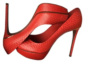 Louis Vuitton Python Peep Toe Red Pumps