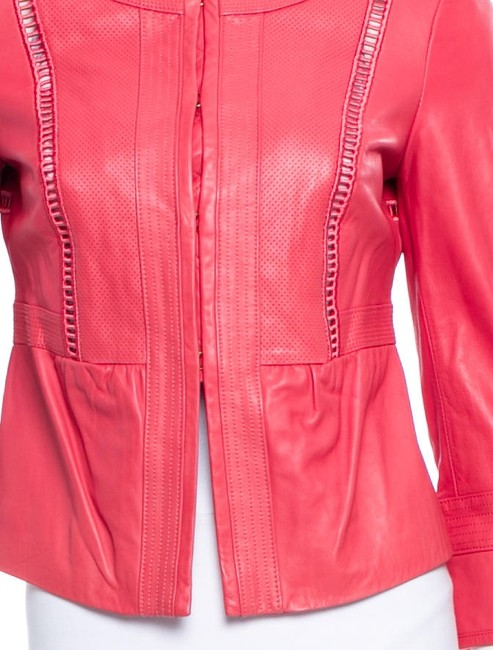 Tory Burch Milne Perforated Red Leather Jacket
