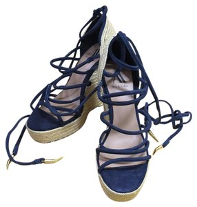 Ava & Aiden Navy and natural Wedges