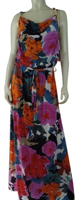 Item - Multicolored Stretch Knit Pullover Floral Long Casual Maxi Dress Size 12 (L)