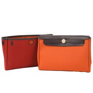 Hermès Red,orange, Dark Brown Clutch