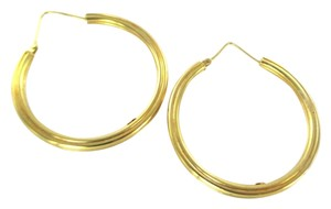 OE 18KT YELLOW GOLD EARRINGS HOOP HALLMARK 750 OE RIBBED FINE JEWELRY MORNINGSTARS