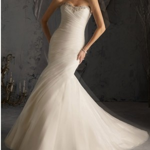 Mori Lee Ivory Gown Sexy Wedding Dress Size 14 (L)