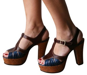 Chie Mihara Cork Heels Made In Spain Vintage Style Blue & Brown Platforms