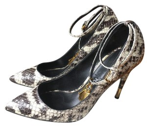Tom Ford Padlock Python / Grey , off white Pumps