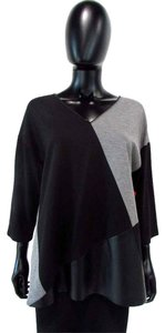 Lafayette 148 New York 3/4 Sleeve Faux Leather Top Black