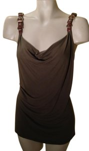 Cache Leather Embellished Buckle Top Olive/ Brown