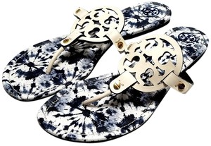 Tory Burch Flip Flops Bold Logo Cutout Leather White/multicolor Sandals