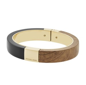 Michael Kors Michael Kors MKJ5547 Black/Wood Gold Hinge Bangle Bracelet NEW!