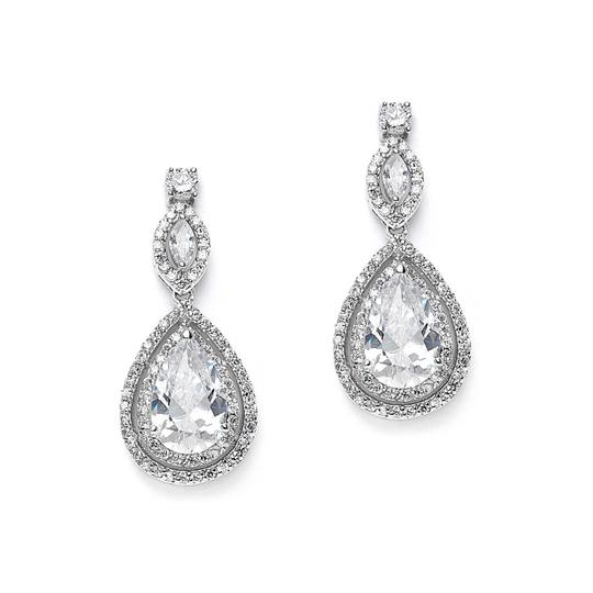 Silver/Rhodium Stunning Double Pave Crystal Pear Drop Earrings