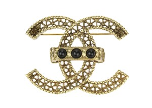 Chanel 11A Gold CC Black Beads Brooch