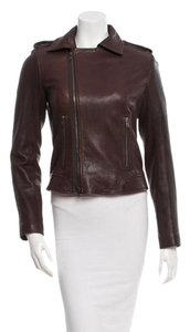 Theory Leather Brown Moto Dark Brown Leather Jacket
