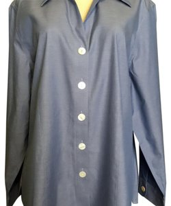 Coldwater Creek Button Down Shirt Blue with a Purpke Hue