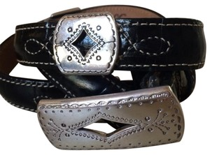 Brighton Brighton Black Leather Belt w/ Silver Embellishments