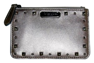 Coach COACH Pewter Metallic Leather Studded Mini Zip Top Clutch/Wallet