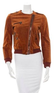 3.1 Phillip Lim Suede Leather Brown Moto Leather Jacket