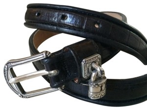 Brighton Brighton Black Croc Belt with Lock Charm
